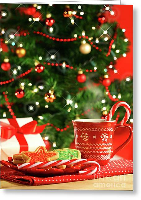 Crumbs Greeting Cards - Christmas cookies  near the  tree  Greeting Card by Sandra Cunningham