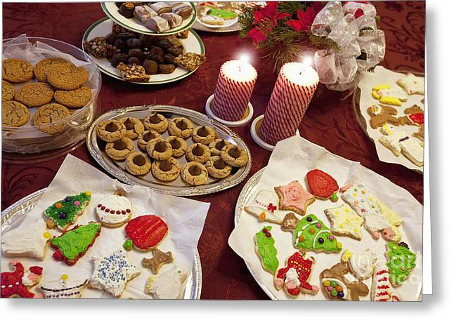 Table Cloth Greeting Cards - Christmas Cookies Greeting Card by Will & Deni McIntyre