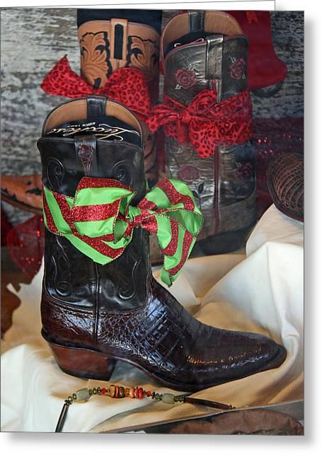 Elizabeth Rose Greeting Cards - Christmas Cowboy Boots Greeting Card by Elizabeth Rose