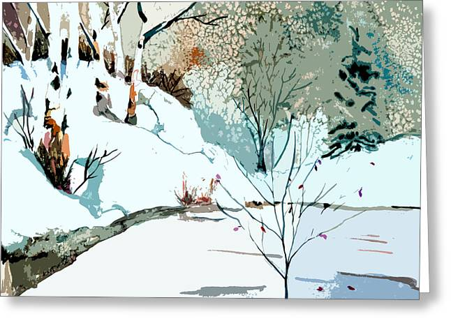 Snowy Night Night Greeting Cards - Christmas Crisp Greeting Card by Mindy Newman