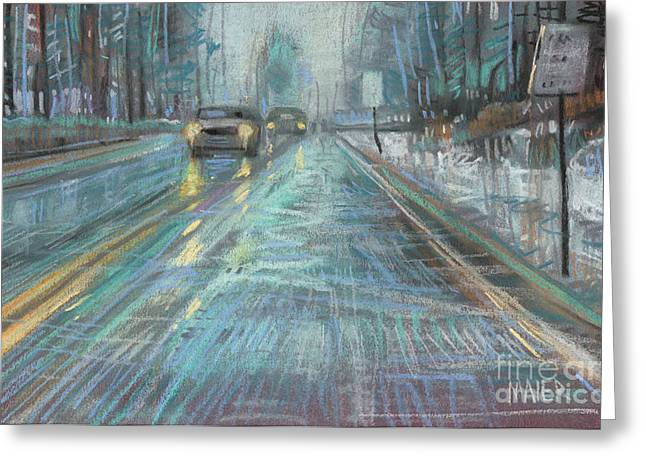 Car Pastels Greeting Cards - Christmas Drive Greeting Card by Donald Maier