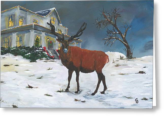 Gail Daley Greeting Cards - Christmas Elk Greeting Card by Gail Daley