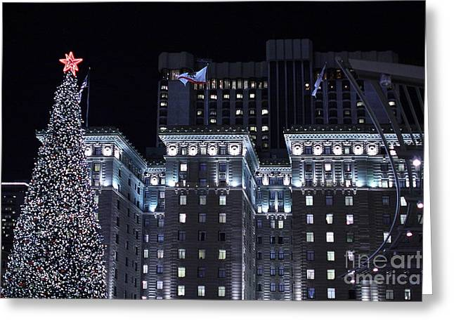 St Francis Hotel Greeting Cards - Christmas Eve 2009 at the Westin St Francis SF Greeting Card by Wingsdomain Art and Photography