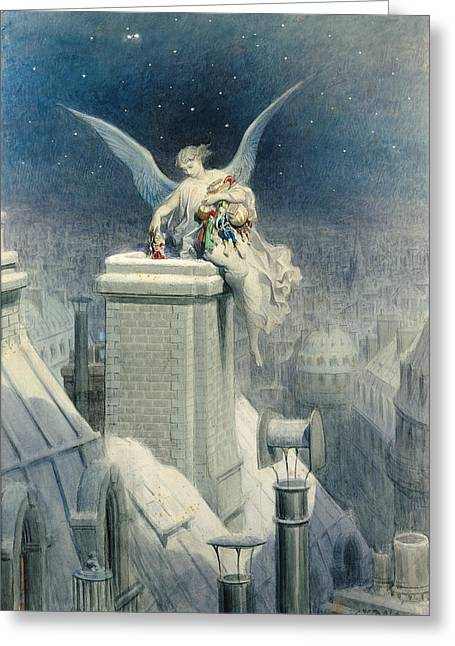 Roof Greeting Cards - Christmas Eve Greeting Card by Gustave Dore