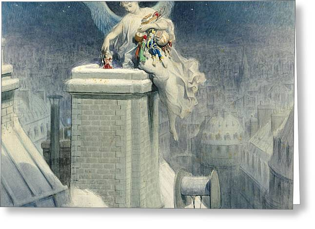 Christmas Eve Greeting Card by Gustave Dore