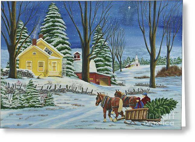 New England Snow Scene Paintings Greeting Cards - Christmas Eve In The Country Greeting Card by Charlotte Blanchard