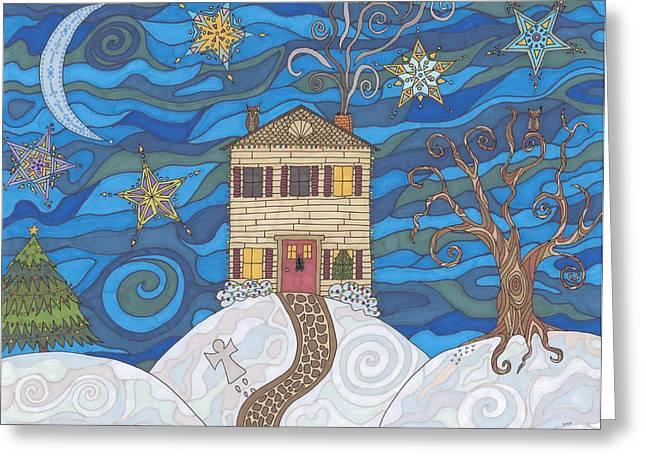 Night Angel Drawings Greeting Cards - Christmas Eve Greeting Card by Pamela Schiermeyer