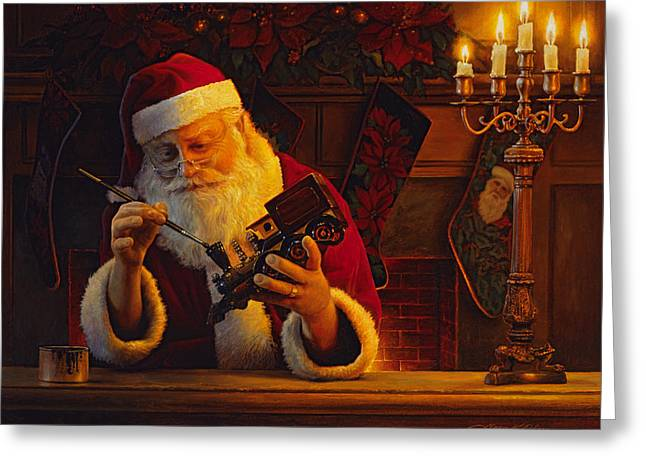 Trains Paintings Greeting Cards - Christmas Eve Touch Up Greeting Card by Greg Olsen