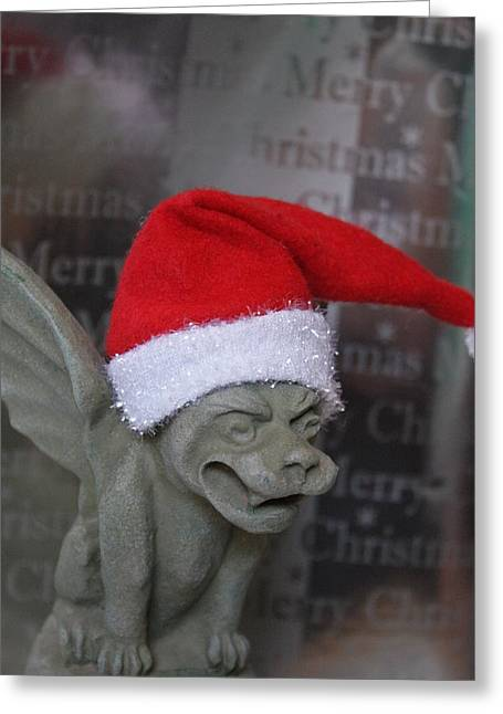 Chelsy Greeting Cards - Christmas Gargoyle Greeting Card by ChelsyLotze International Studio
