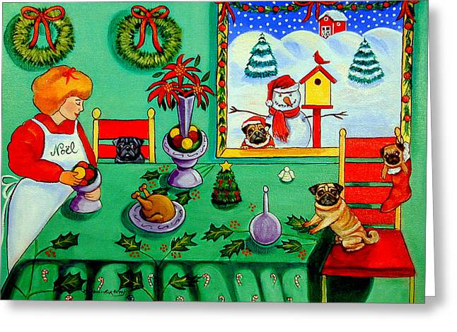 Puppies Paintings Greeting Cards - Christmas Harmony Greeting Card by Lyn Cook