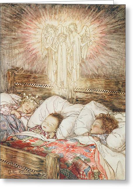 1867 Greeting Cards - Christmas illustrations from The Night Before Christmas Greeting Card by Arthur Rackham