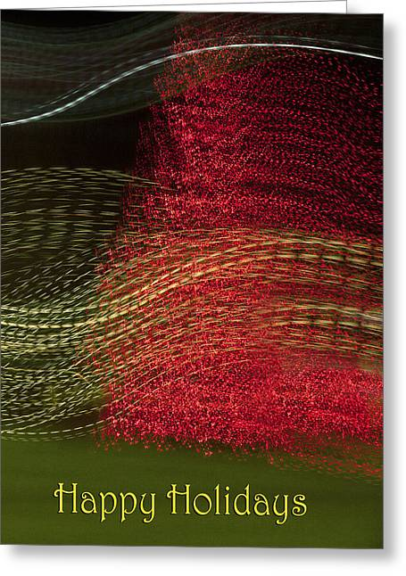 Abstract Digital Light Trails Greeting Cards - Christmas in Abstract Greeting Card by Linda Phelps
