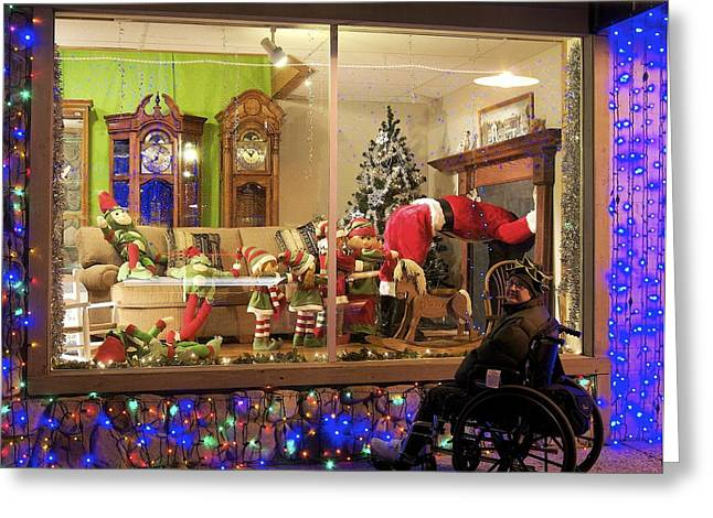 Wheelchair Greeting Cards - Christmas in Rochester Greeting Card by Michael Peychich