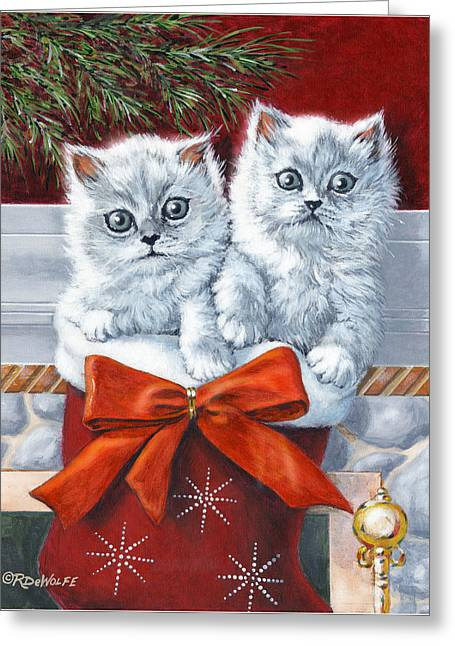 Christmas Kittens Greeting Card by Richard De Wolfe