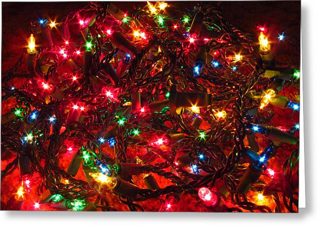 Twinkle Greeting Cards - Christmas Light Tangle Greeting Card by Andrea Arnold