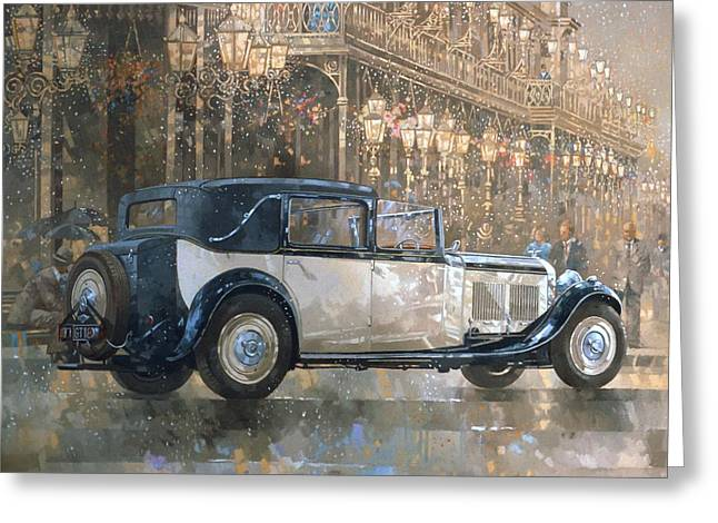 Old Car Greeting Cards - Christmas Lights and 8 litre Bentley Greeting Card by Peter Miller