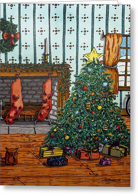 Cats Drawings Drawings Greeting Cards - Christmas Memories Greeting Card by Ross Powell