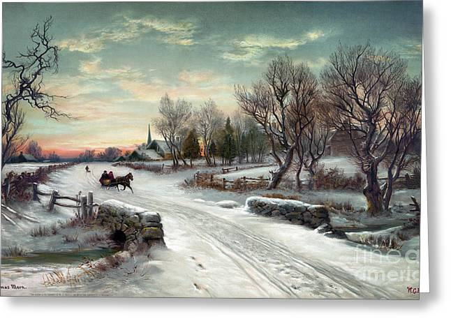 Qed Photographs Greeting Cards - CHRISTMAS MORN, c1885 Greeting Card by Granger
