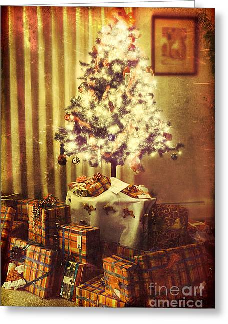 Paper Texture Greeting Cards - Christmas morning Greeting Card by HD Connelly