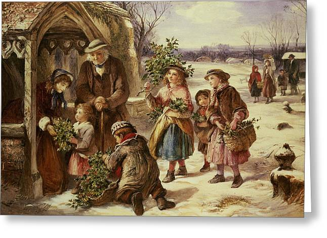 Gathering Greeting Cards - Christmas Morning Greeting Card by Thomas Falcon Marshall