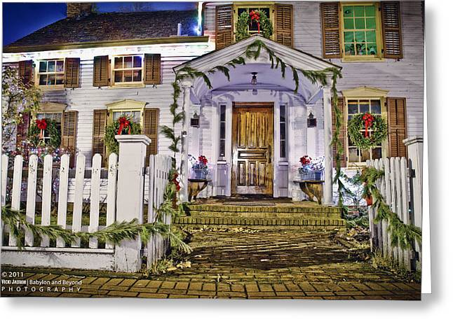 Babylon Greeting Cards - Christmas on Main Street Greeting Card by Vicki Jauron
