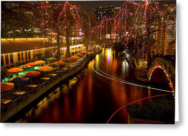 Riverwalk Greeting Cards - Christmas on the Riverwalk 2 Greeting Card by Paul Huchton