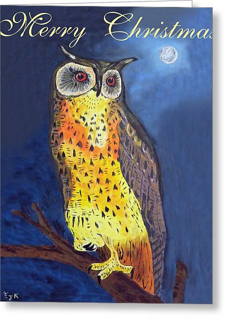 Eric Kempson Greeting Cards - Christmas Owl Greeting Card by Eric Kempson