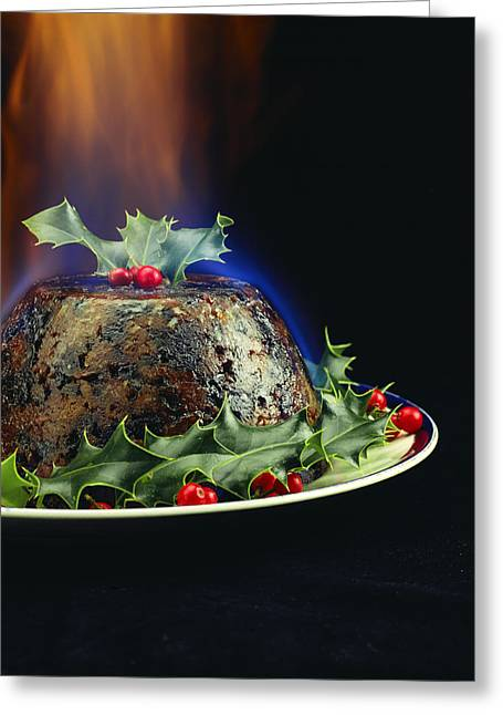 Holly Berry Still Life Greeting Cards - Christmas Pudding Greeting Card by David Munns