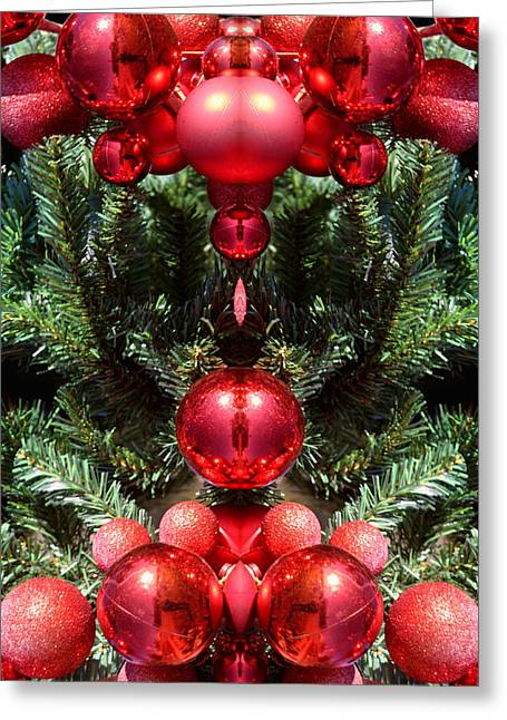 Redm Green Greeting Cards - Christmas Red Balls Abstract Greeting Card by Linda Phelps
