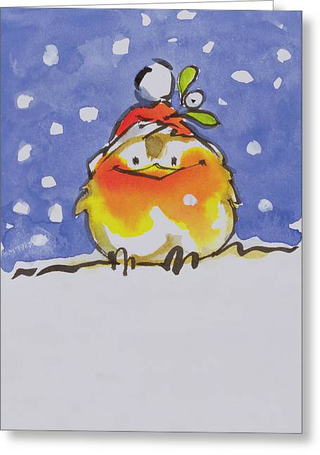 Robin Greeting Cards - Christmas Robin Greeting Card by Diane Matthes