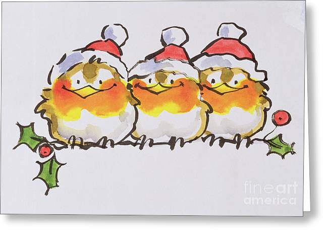 Hat Greeting Cards Greeting Cards - Christmas Robins Greeting Card by Diane Matthes