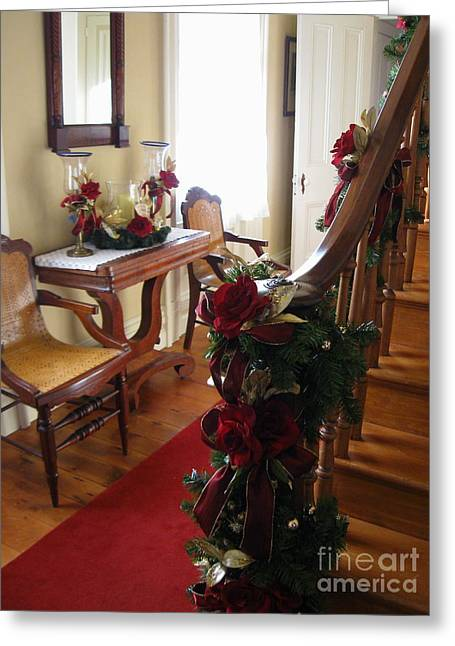 Decorated For Christmas Greeting Cards - Christmas Rose and Stairs  Greeting Card by Nancy Patterson