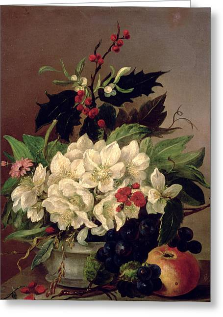 Displaying Greeting Cards - Christmas Roses Greeting Card by Willem van Leen