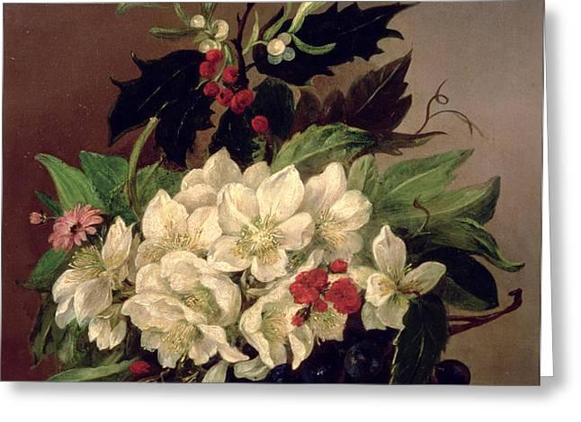 Christmas Roses Greeting Card by Willem van Leen