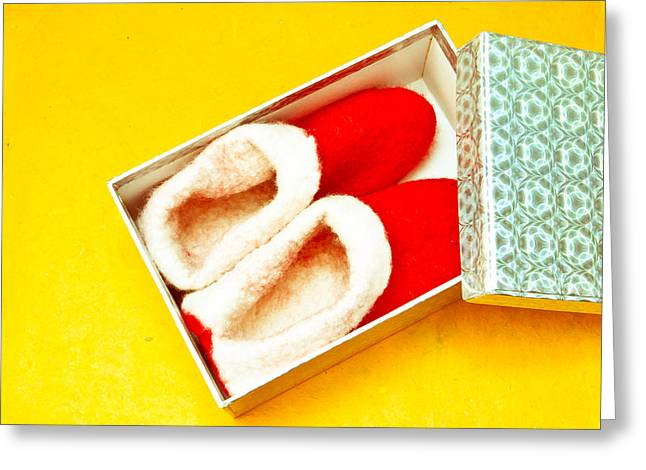 Wooly Greeting Cards - Christmas shoes Greeting Card by Tom Gowanlock