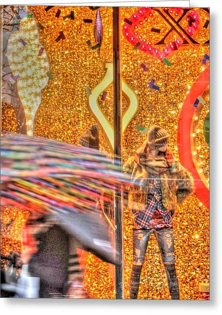 Magnificent Mile Digital Art Greeting Cards - Christmas Shopping in HDR in Chicago Greeting Card by Jennifer Holcombe