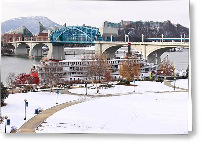 Riverpark Greeting Cards - Christmas Snow Greeting Card by Tom and Pat Cory