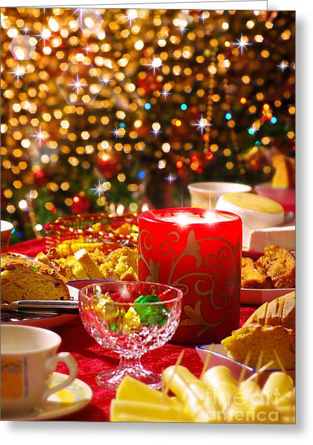 Christmas Table Set Greeting Card by Carlos Caetano