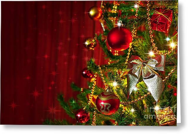 Spheres Greeting Cards - Christmas Tree Detail Greeting Card by Carlos Caetano