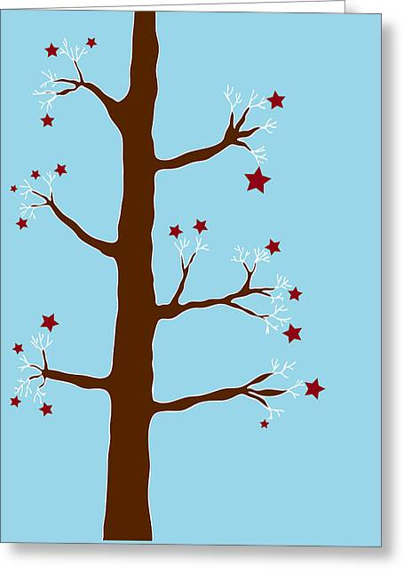 Winter Night Drawings Greeting Cards - Christmas Tree Greeting Card by Frank Tschakert