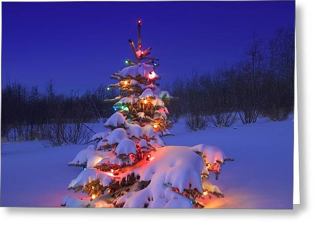 Christmas Tree Glowing Greeting Card by Carson Ganci