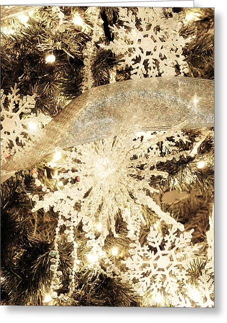 Snowflake Greeting Cards - Christmas Tree Greeting Card by HD Connelly