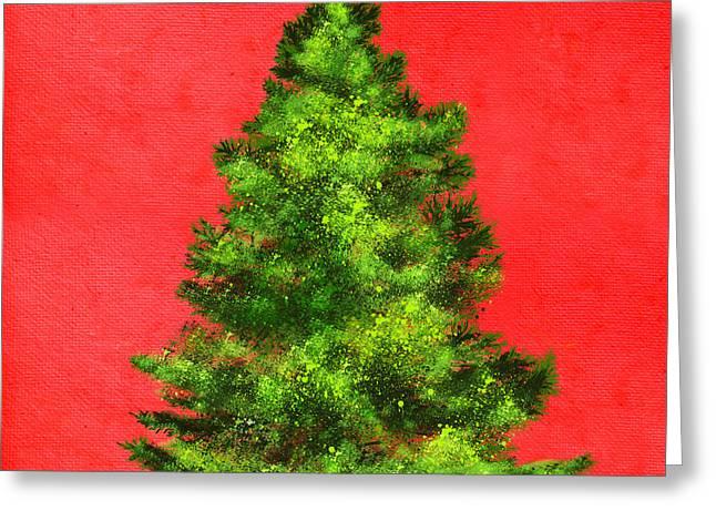 Christmas Tree Painting Greeting Card by Setsiri Silapasuwanchai