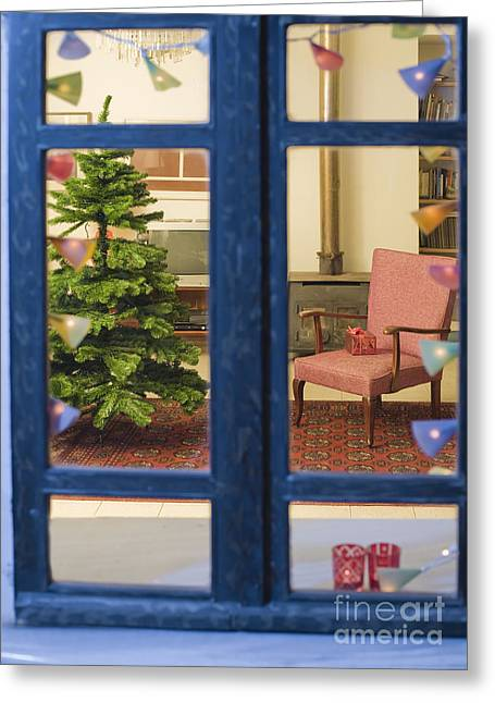 Coffee Table Couch Greeting Cards - Christmas Tree through Window Greeting Card by Noam Armonn