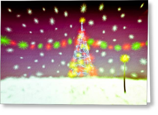 Night Lamp Greeting Cards - Christmas tree Greeting Card by Tom Gowanlock
