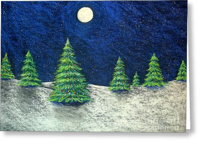 Holiday Pastels Greeting Cards - Christmas Trees in the Snow Greeting Card by Nancy Mueller