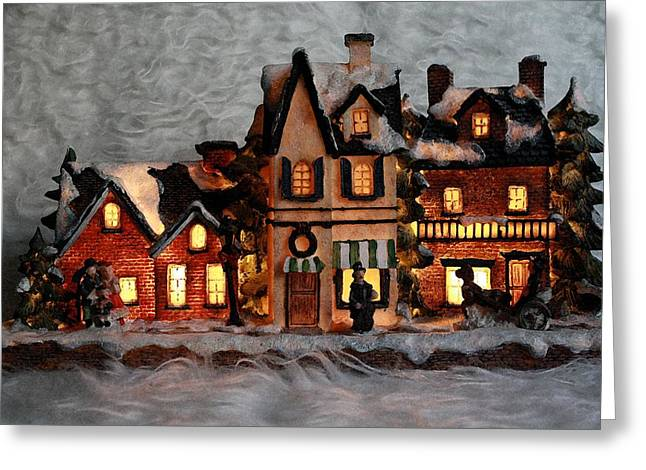 Chelsy Greeting Cards - Christmas Village Greeting Card by ChelsyLotze International Studio