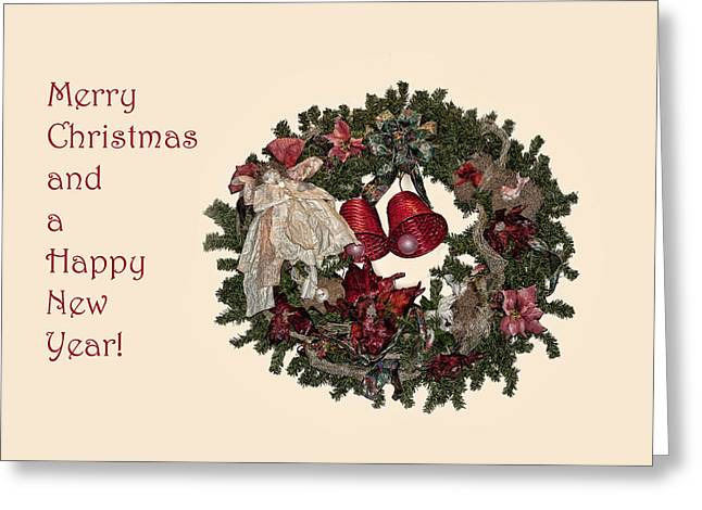Pine Needles Greeting Cards - Christmas Wreath Greeting Card by Linda Phelps