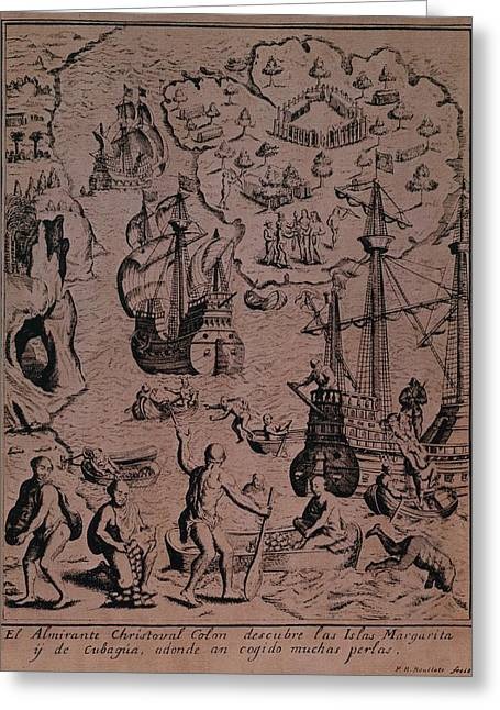 Treasures Greeting Cards - Christopher Colombus discovering the islands of Margarita and Cubagua where they found many pearls Greeting Card by Spanish School