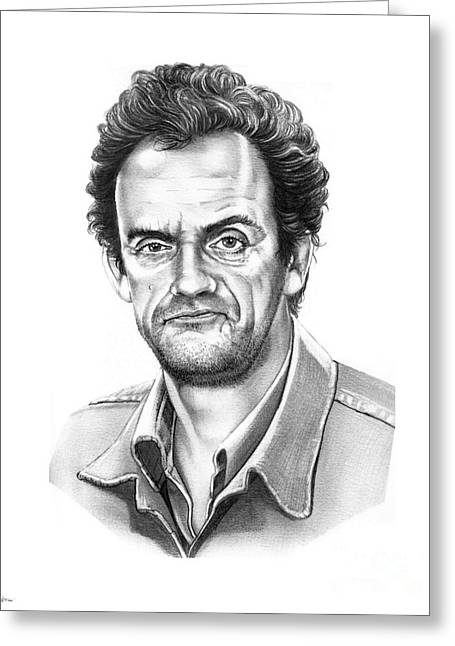 Christopher Drawings Greeting Cards - Christopher Lloyd Taxi Greeting Card by Murphy Elliott